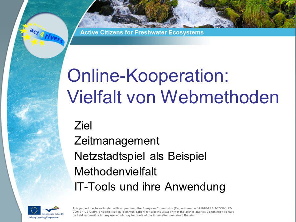 Online-Kooperation: Vielfalt von Webmethoden Ziel Zeitmanagement Netzstadtspiel als Beispiel Methodenvielfalt IT-Tools und ihre Anwendung
