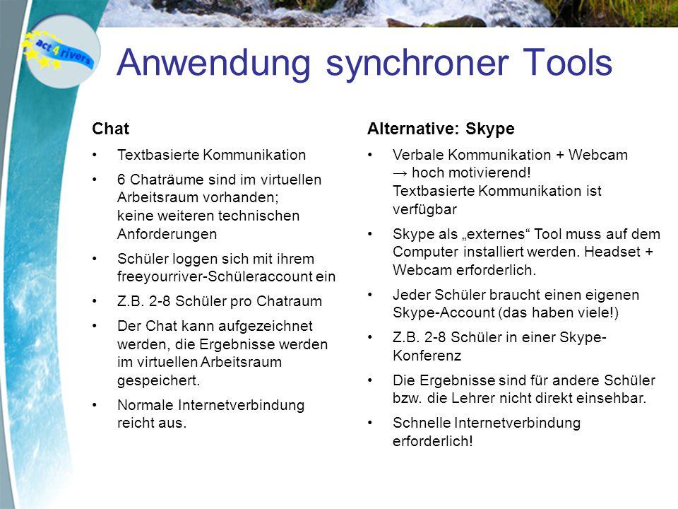 Anwendung synchroner Tools Chat Textbasierte Kommunikation 6 Chaträume sind im virtuellen Arbeitsraum vorhanden; keine weiteren technischen Anforderun