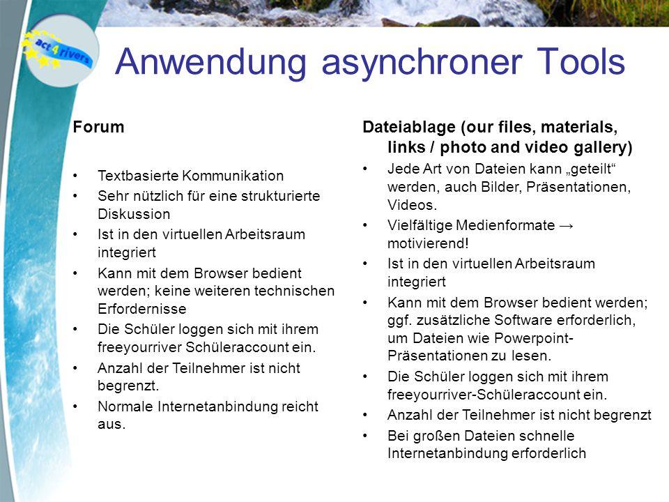 Anwendung asynchroner Tools Forum Textbasierte Kommunikation Sehr nützlich für eine strukturierte Diskussion Ist in den virtuellen Arbeitsraum integri