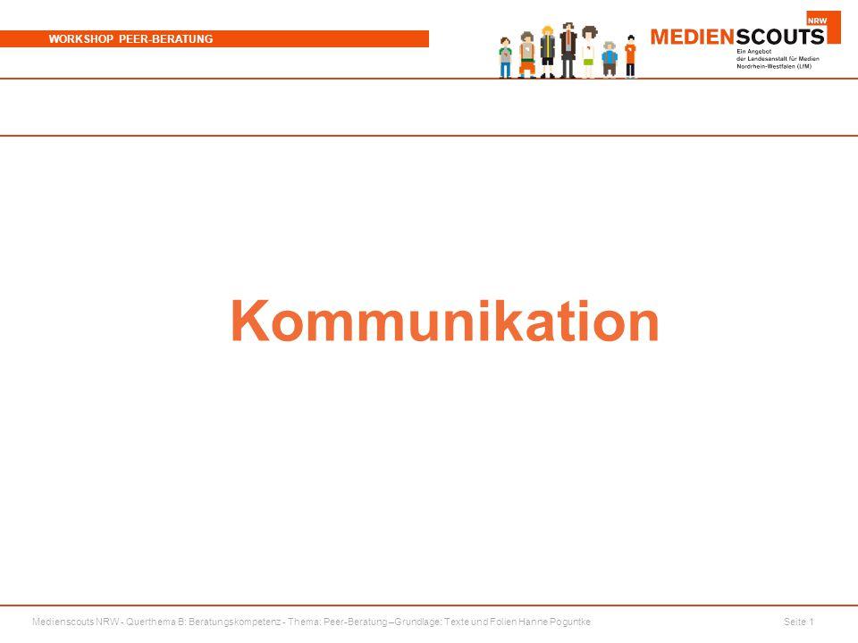 Medienscouts NRW - Querthema B: Beratungskompetenz - Thema: Peer-Beratung –Grundlage: Texte und Folien Hanne Poguntke Seite 2 WORKSHOP PEER-BERATUNG Watzlawik Was beeinflusst unsere Kommunikation noch.
