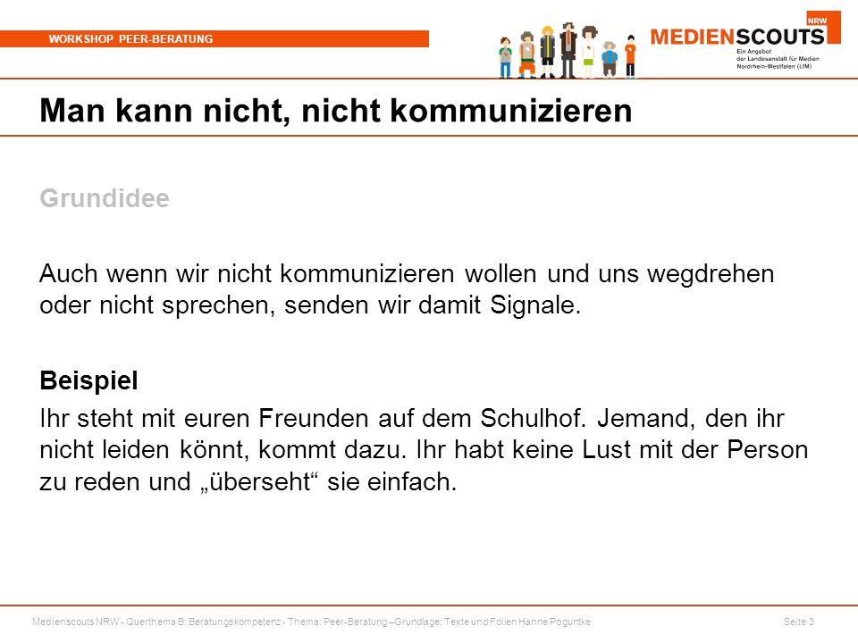 Medienscouts NRW - Querthema B: Beratungskompetenz - Thema: Peer-Beratung –Grundlage: Texte und Folien Hanne Poguntke Seite 3 WORKSHOP PEER-BERATUNG M