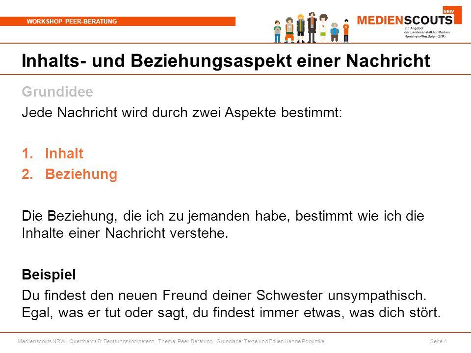 Medienscouts NRW - Querthema B: Beratungskompetenz - Thema: Peer-Beratung –Grundlage: Texte und Folien Hanne Poguntke Seite 4 WORKSHOP PEER-BERATUNG I