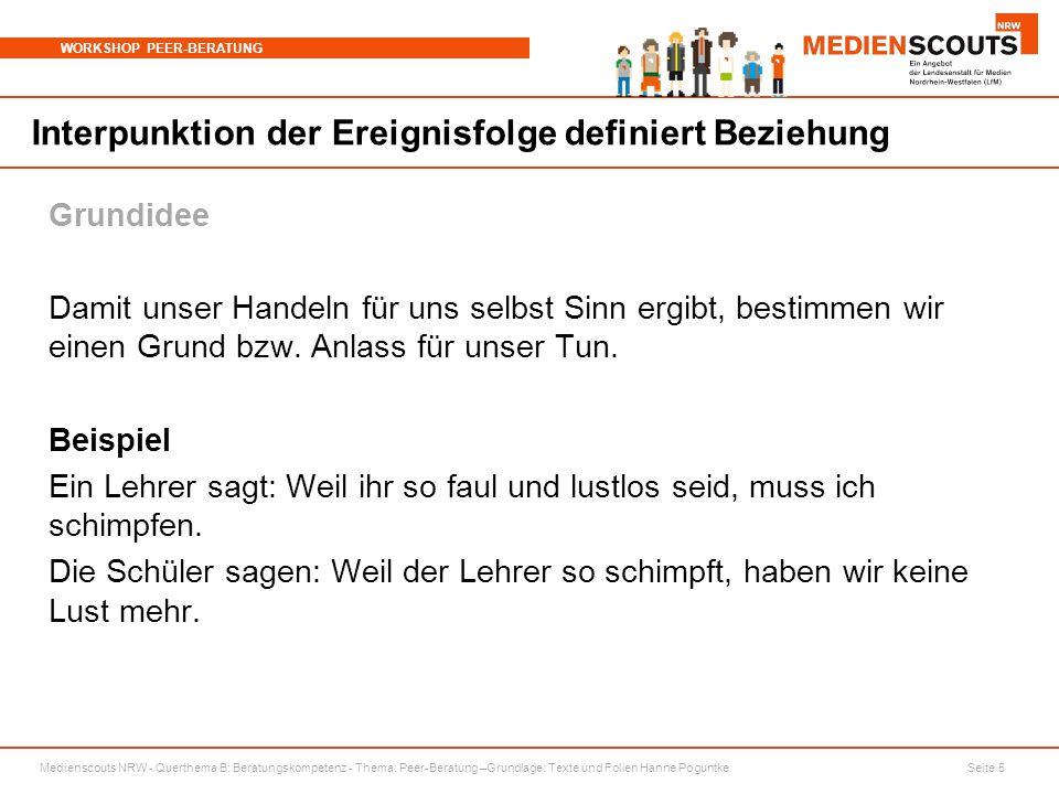 Medienscouts NRW - Querthema B: Beratungskompetenz - Thema: Peer-Beratung –Grundlage: Texte und Folien Hanne Poguntke Seite 5 WORKSHOP PEER-BERATUNG I