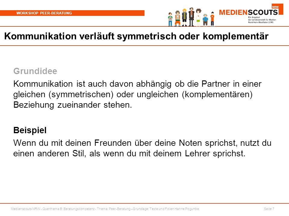 Medienscouts NRW - Querthema B: Beratungskompetenz - Thema: Peer-Beratung –Grundlage: Texte und Folien Hanne Poguntke Seite 7 WORKSHOP PEER-BERATUNG K