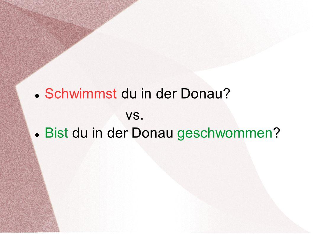 Schwimmst du in der Donau? vs. Bist du in der Donau geschwommen?