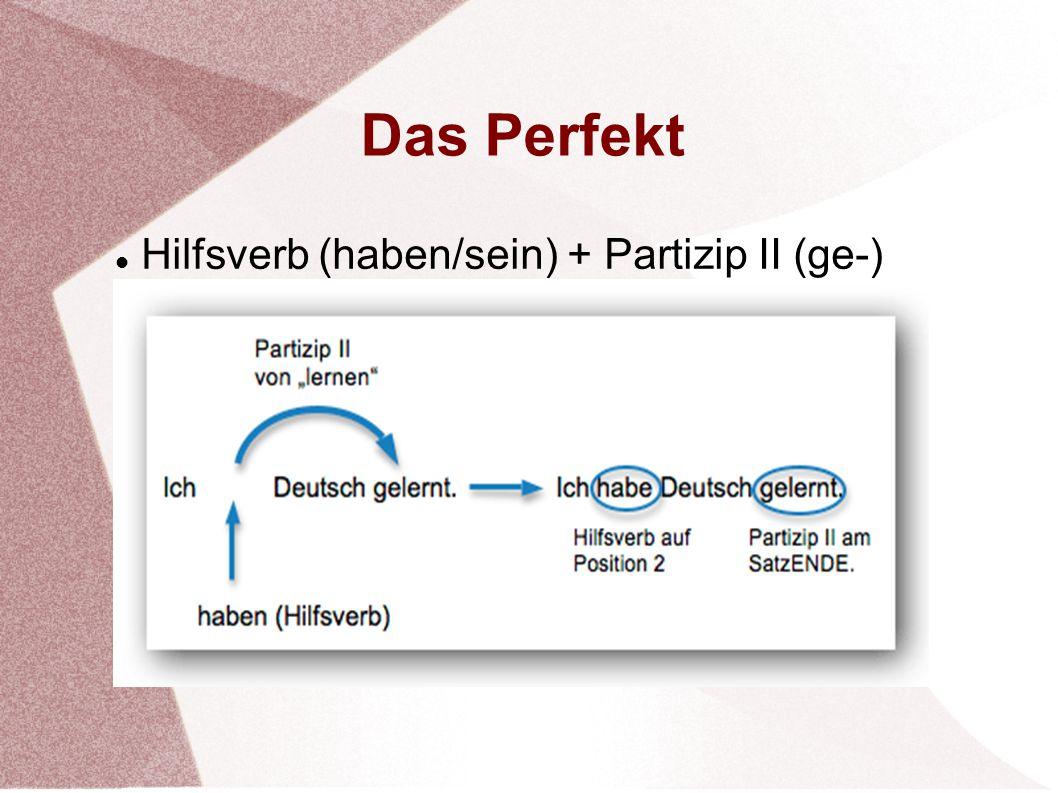 Das Perfekt Hilfsverb (haben/sein) + Partizip II (ge-)