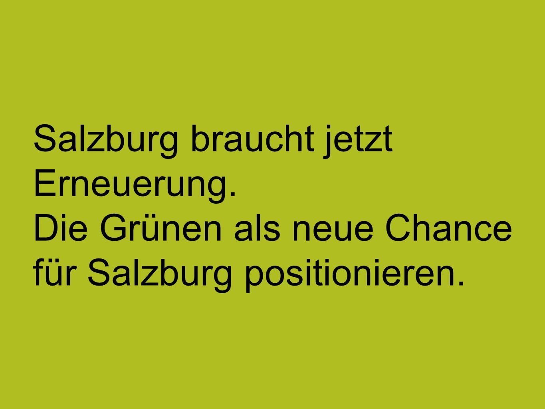 Salzburg braucht jetzt Erneuerung. Die Grünen als neue Chance für Salzburg positionieren.
