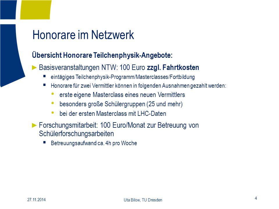 Honorare im Netzwerk 4 27.11.2014 Uta Bilow, TU Dresden Übersicht Honorare Teilchenphysik-Angebote: ► Basisveranstaltungen NTW: 100 Euro zzgl. Fahrtko