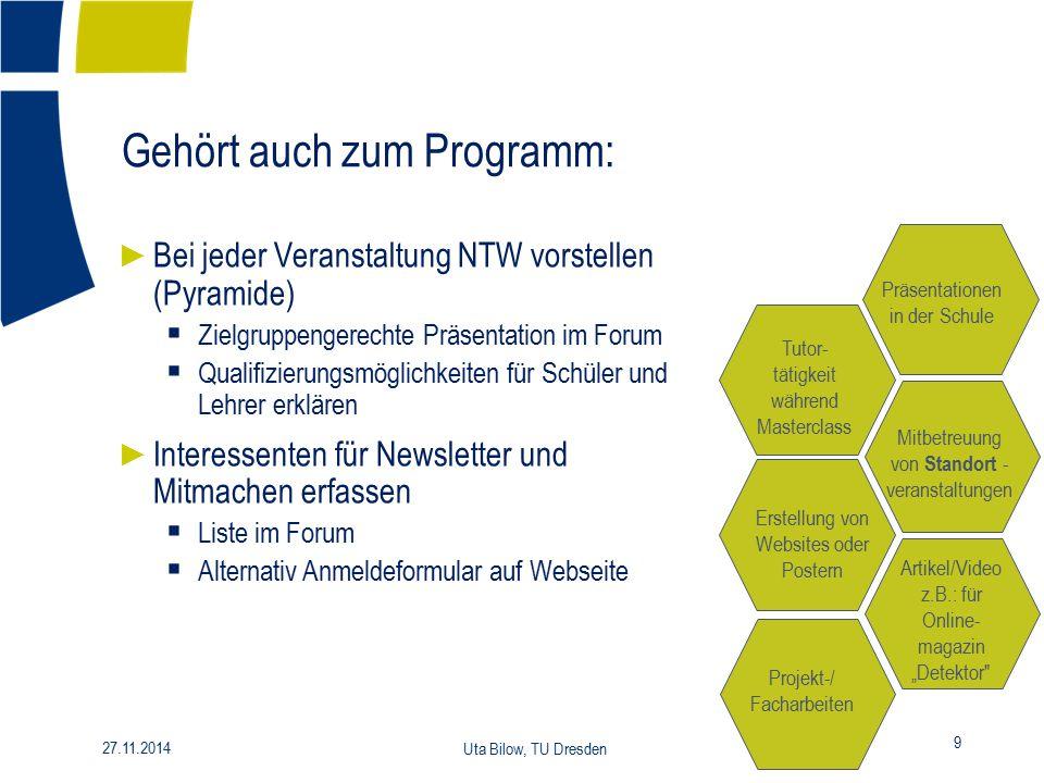 Gehört auch zum Programm: 9 27.11.2014 Uta Bilow, TU Dresden ► Bei jeder Veranstaltung NTW vorstellen (Pyramide)  Zielgruppengerechte Präsentation im