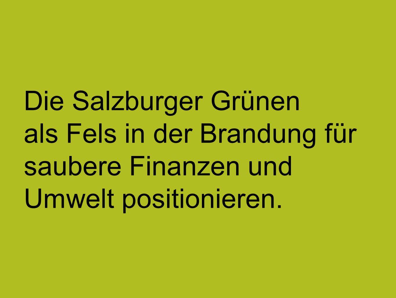 Die Salzburger Grünen als Fels in der Brandung für saubere Finanzen und Umwelt positionieren.