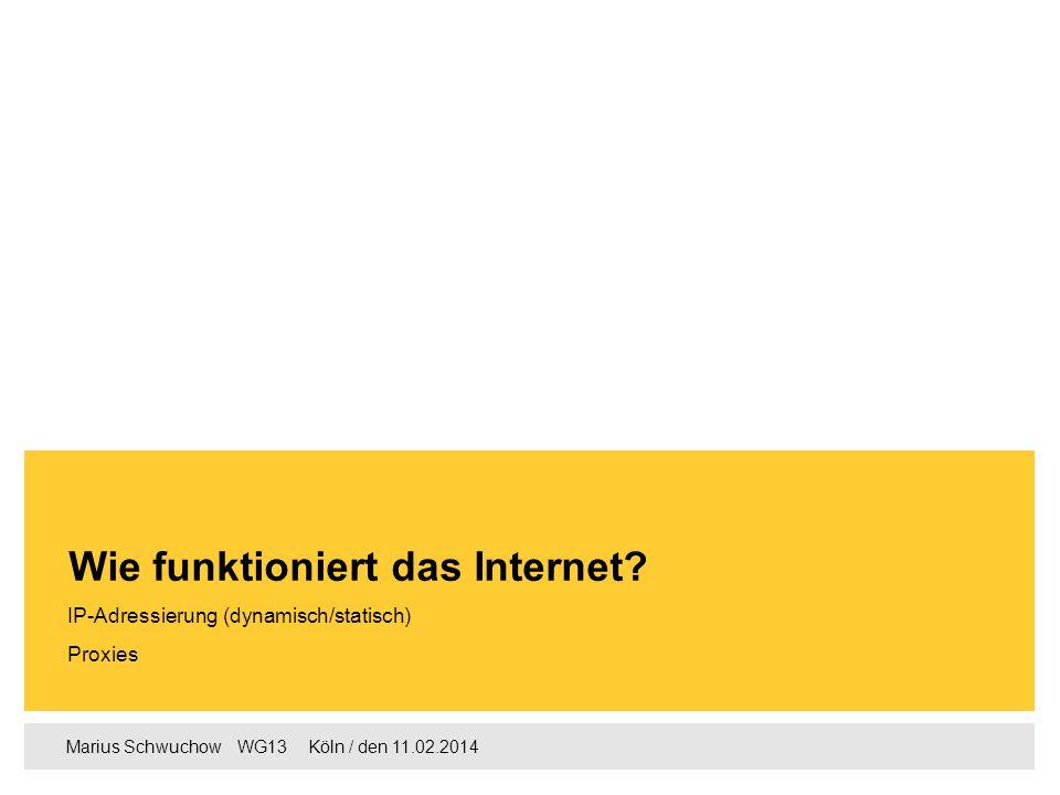 Marius Schwuchow  WG13  Köln / den 11.02.2014 IP-Adressierung (dynamisch/statisch) Proxies Wie funktioniert das Internet?