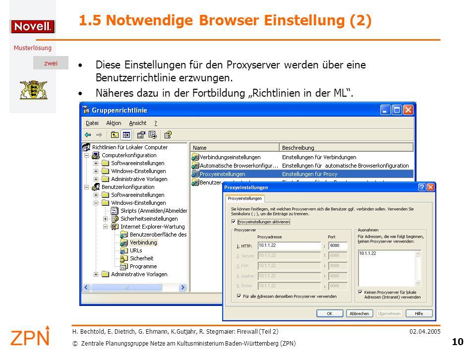 © Zentrale Planungsgruppe Netze am Kultusministerium Baden-Württemberg (ZPN) Musterlösung 02.04.2005 10 H.