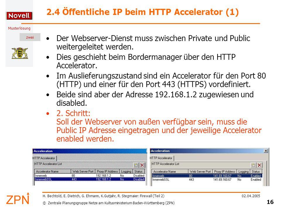 © Zentrale Planungsgruppe Netze am Kultusministerium Baden-Württemberg (ZPN) Musterlösung 02.04.2005 16 H.