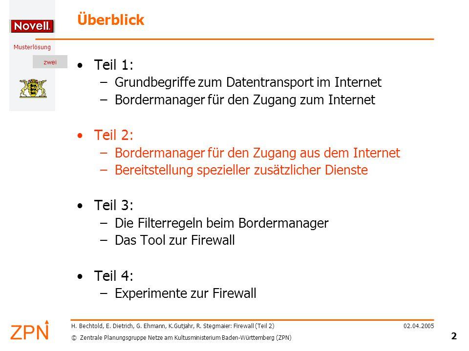 © Zentrale Planungsgruppe Netze am Kultusministerium Baden-Württemberg (ZPN) Musterlösung 02.04.2005 13 H.