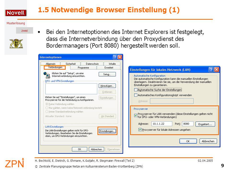 © Zentrale Planungsgruppe Netze am Kultusministerium Baden-Württemberg (ZPN) Musterlösung 02.04.2005 20 H.