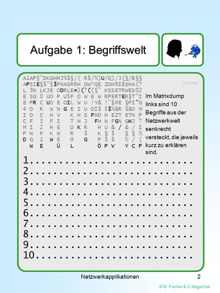 "© M. Fischer & G.Magschok Netzwerkapplikationen2 A1AP§""DKGHHJ%$§/( R$/%)U/Q)/J(§/B§§ APSIE§$""§$PHASRRH DW*QE ZOH9I8zHA(? L 3N LKJE ODRLE=)(?((§"" KSSET"