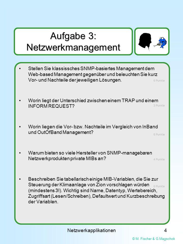 © M. Fischer & G.Magschok Netzwerkapplikationen4 Aufgabe 3: Netzwerkmanagement Stellen Sie klassissches SNMP-basiertes Management dem Web-based Manage