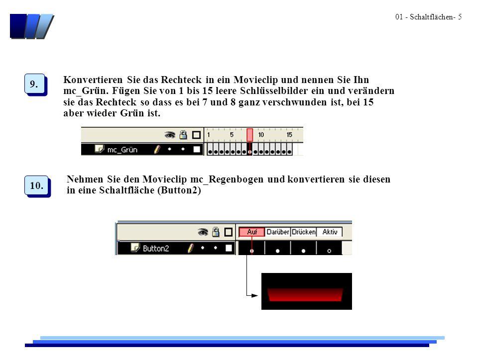 01 - Schaltflächen- 6 Auf dem Darüber- sowie auf dem Drücken- Zustand sollte der Moviecli mc_Grün ablaufen.