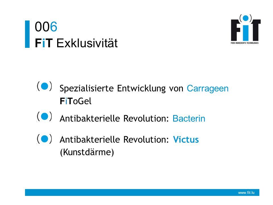 www.fit.lu FiT Exklusivität 006 Spezialisierte Entwicklung von Carrageen FiT oGel Antibakterielle Revolution: Bacterin Antibakterielle Revolution: Victus (Kunstdärme)