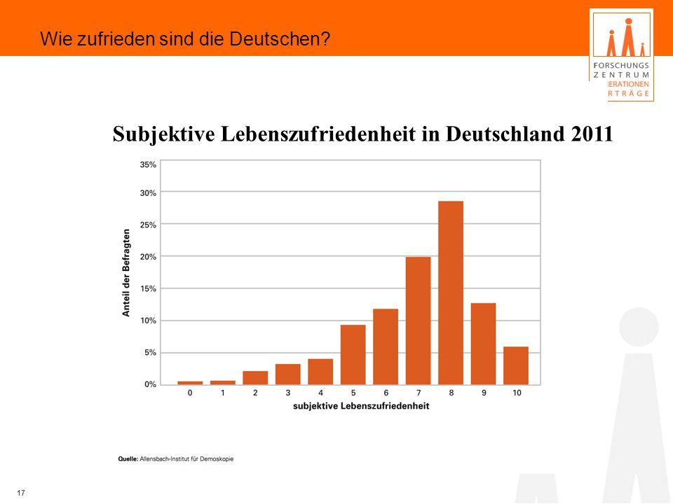 Subjektive Lebenszufriedenheit in Deutschland 2011 17 Wie zufrieden sind die Deutschen