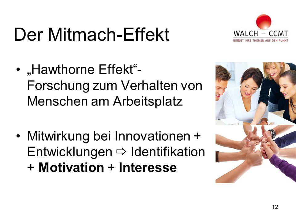 """12 Der Mitmach-Effekt """"Hawthorne Effekt - Forschung zum Verhalten von Menschen am Arbeitsplatz Mitwirkung bei Innovationen + Entwicklungen  Identifikation + Motivation + Interesse"""