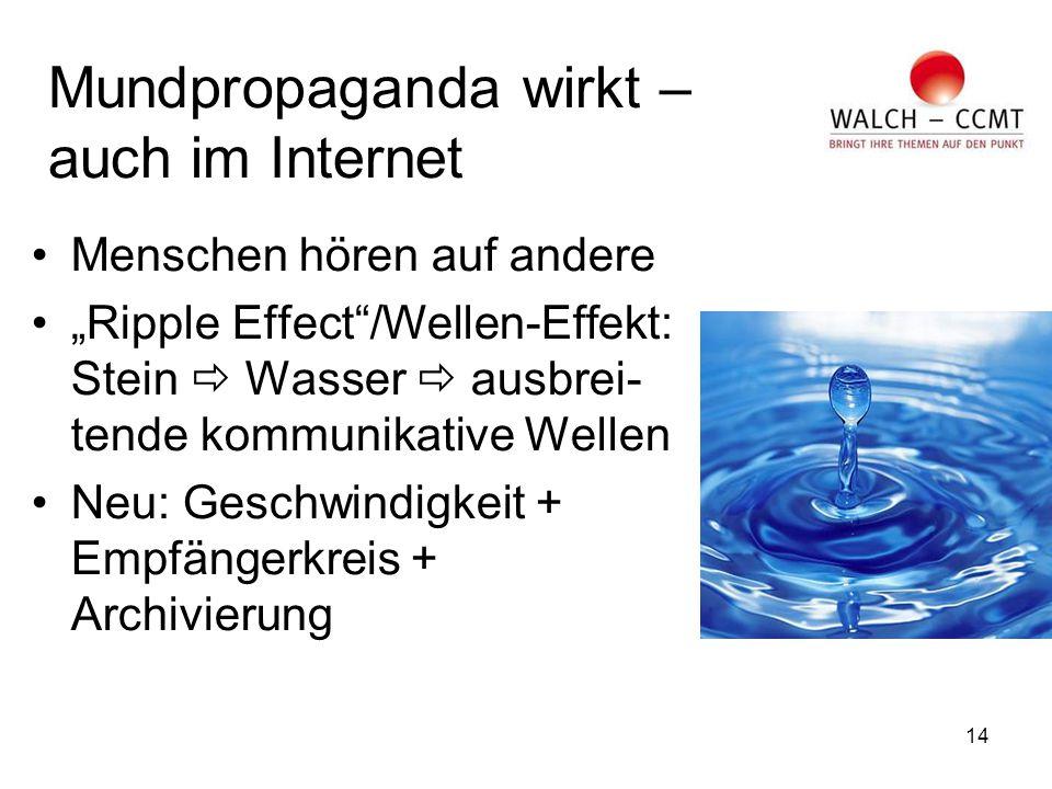 """14 Mundpropaganda wirkt – auch im Internet Menschen hören auf andere """"Ripple Effect /Wellen-Effekt: Stein  Wasser  ausbrei- tende kommunikative Wellen Neu: Geschwindigkeit + Empfängerkreis + Archivierung"""