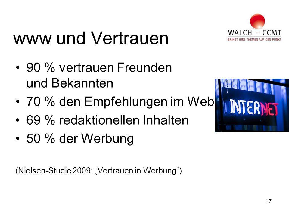 """17 www und Vertrauen 90 % vertrauen Freunden und Bekannten 70 % den Empfehlungen im Web 69 % redaktionellen Inhalten 50 % der Werbung (Nielsen-Studie 2009: """"Vertrauen in Werbung )"""