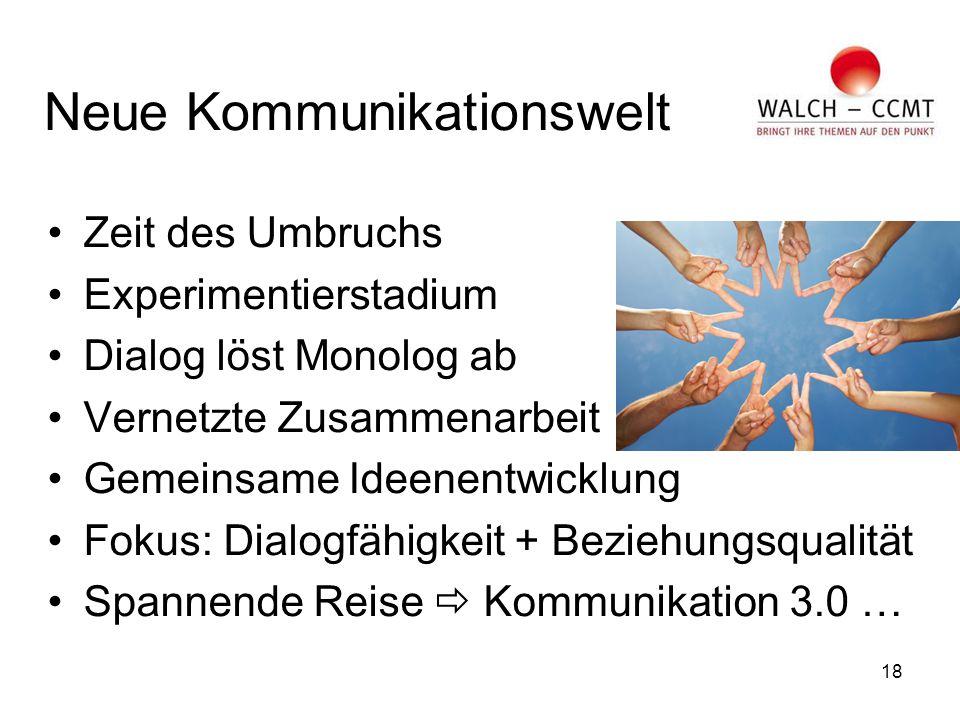 18 Neue Kommunikationswelt Zeit des Umbruchs Experimentierstadium Dialog löst Monolog ab Vernetzte Zusammenarbeit Gemeinsame Ideenentwicklung Fokus: Dialogfähigkeit + Beziehungsqualität Spannende Reise  Kommunikation 3.0 …