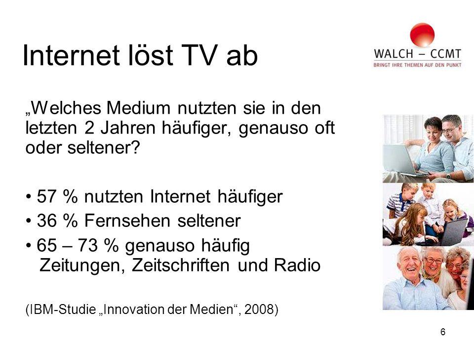 """6 Internet löst TV ab """" Welches Medium nutzten sie in den letzten 2 Jahren häufiger, genauso oft oder seltener."""