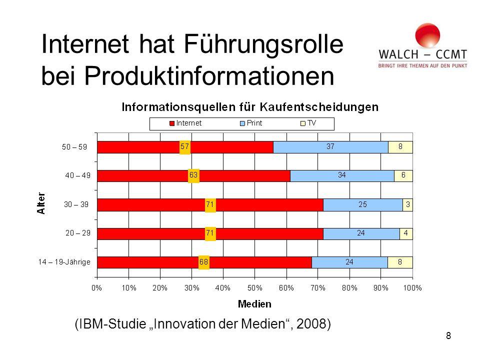 """8 Internet hat Führungsrolle bei Produktinformationen (IBM-Studie """"Innovation der Medien , 2008)"""