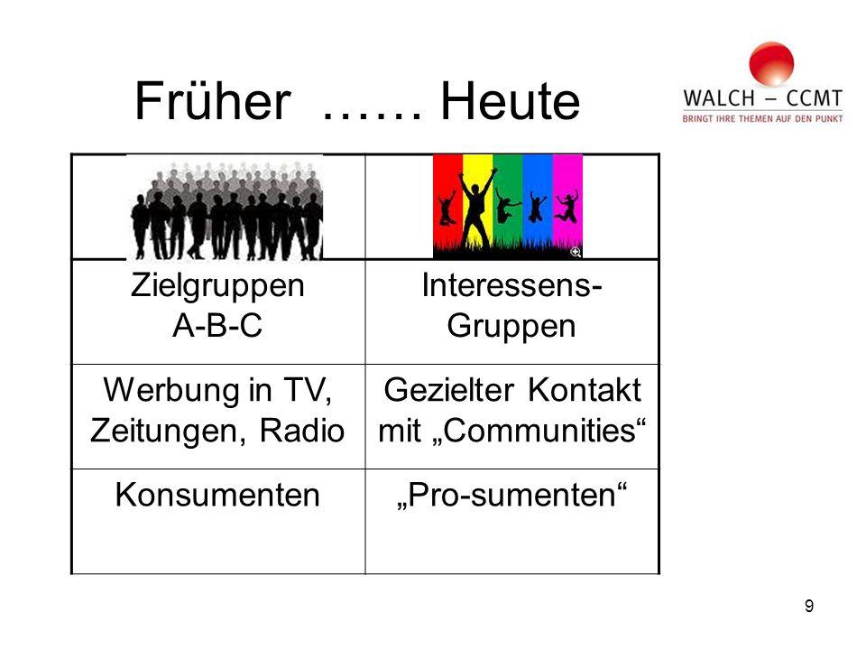 """9 Früher …… Heute Zielgruppen A-B-C Interessens- Gruppen Werbung in TV, Zeitungen, Radio Gezielter Kontakt mit """"Communities Konsumenten""""Pro-sumenten"""
