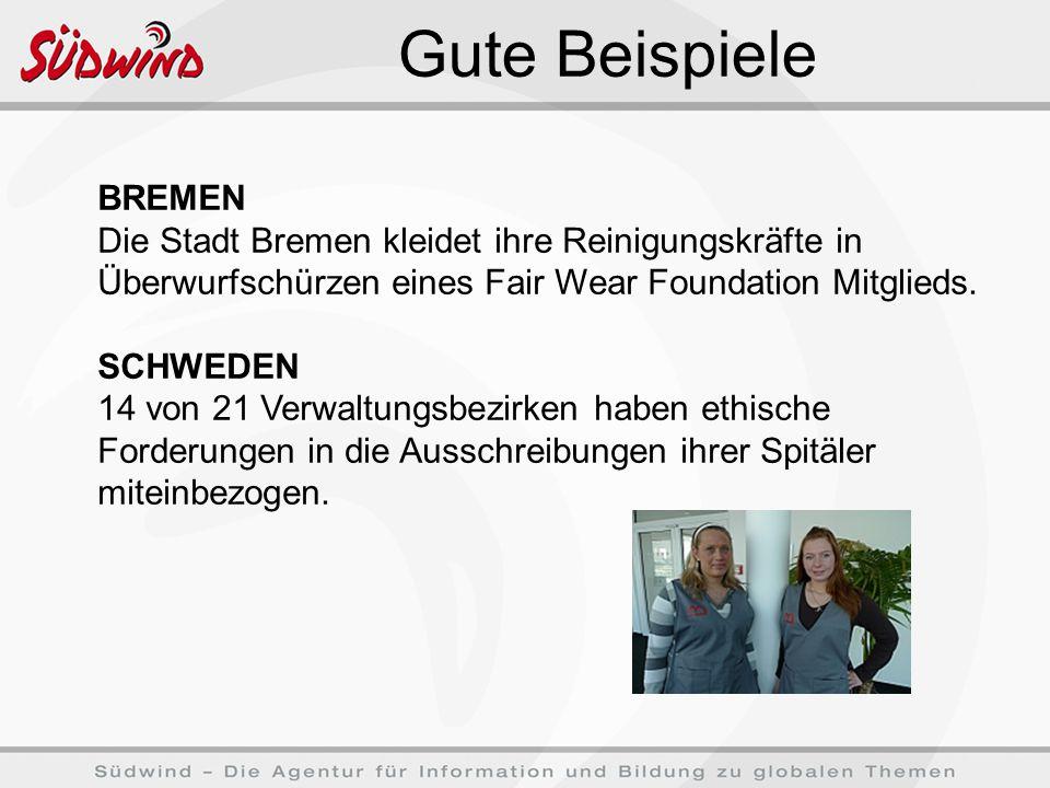 Gute Beispiele BREMEN Die Stadt Bremen kleidet ihre Reinigungskräfte in Überwurfschürzen eines Fair Wear Foundation Mitglieds.
