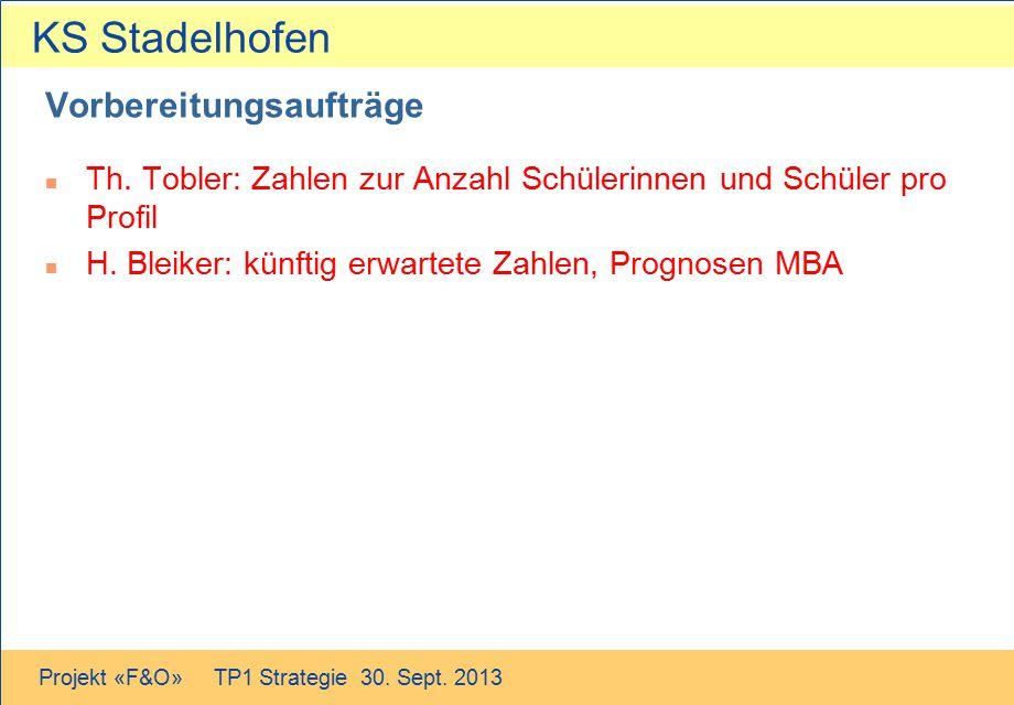 KS Stadelhofen Projekt «F&O» TP1 Strategie 30. Sept. 2013 Vorbereitungsaufträge n Th. Tobler: Zahlen zur Anzahl Schülerinnen und Schüler pro Profil n