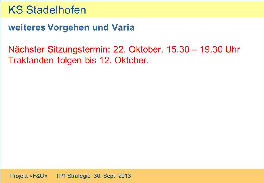 KS Stadelhofen Projekt «F&O» TP1 Strategie 30. Sept. 2013 weiteres Vorgehen und Varia Nächster Sitzungstermin: 22. Oktober, 15.30 – 19.30 Uhr Traktand