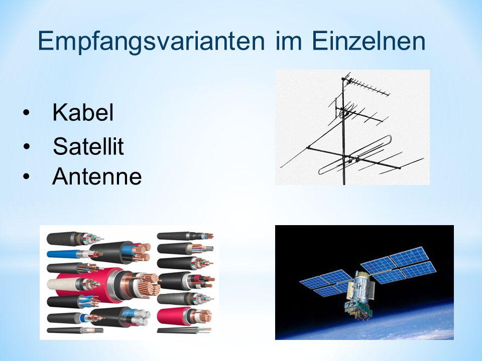 Empfangsvarianten im Einzelnen Kabel Satellit Antenne
