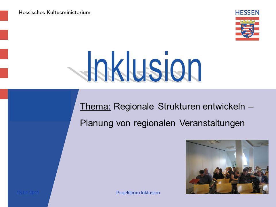 1 Thema: Regionale Strukturen entwickeln – Planung von regionalen Veranstaltungen 13.01.2011Projektbüro Inklusion