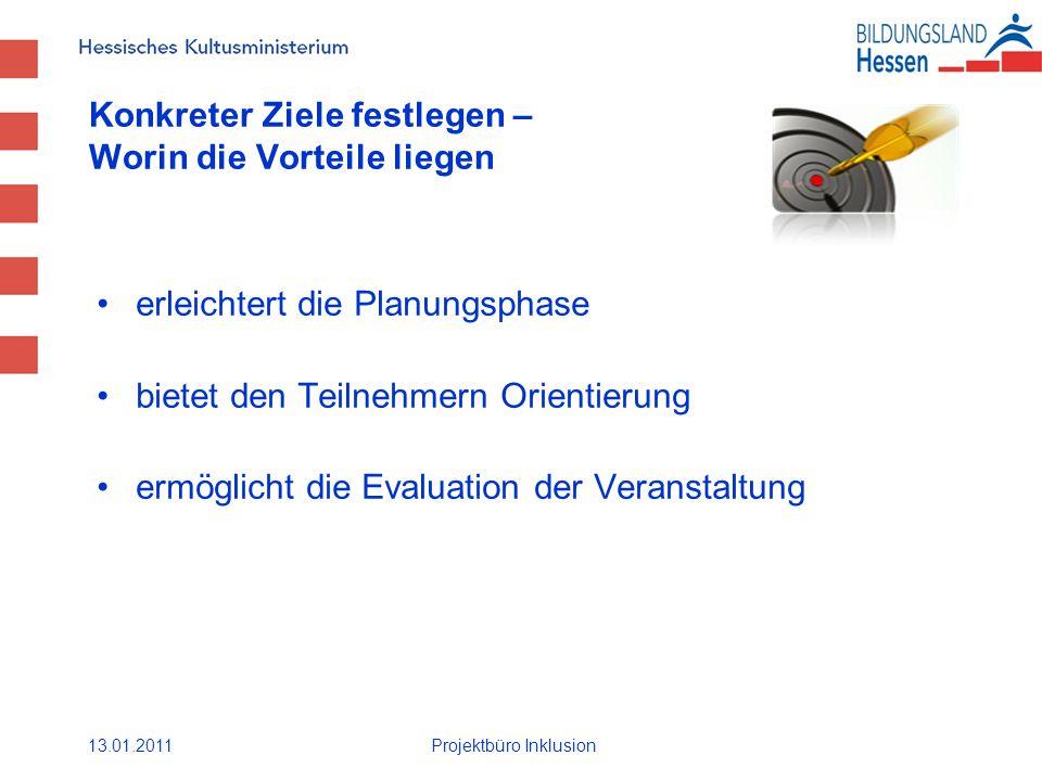 Konkreter Ziele festlegen – Worin die Vorteile liegen erleichtert die Planungsphase bietet den Teilnehmern Orientierung ermöglicht die Evaluation der Veranstaltung 13.01.2011Projektbüro Inklusion