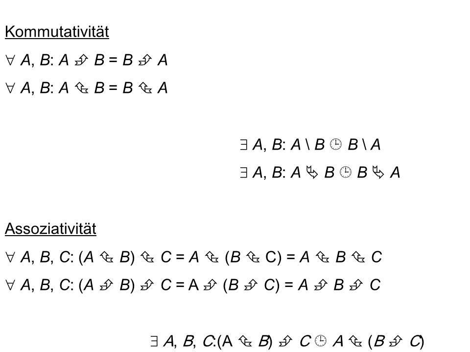 A  B = { (x, y) | x  A  y  B } { a, b, c }  { 1, 2 } = { (a, 1), (b, 1), (c, 1), (a, 2), (b, 2), (c, 2) } A  B  C besteht aus geordneten Tripeln (a, b, c) wobei a  A, b  B, c  C.