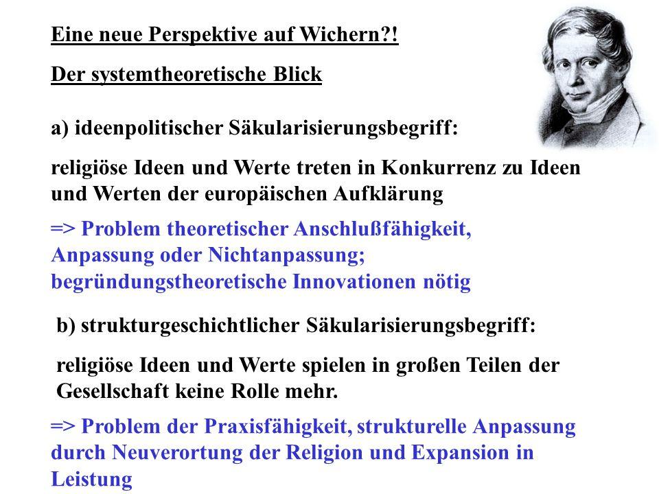 Vorteile einer systemtheoretischen Deutung Wicherns: Die Modernität seines christentumspolitischen Konzepts wird sichtbar.