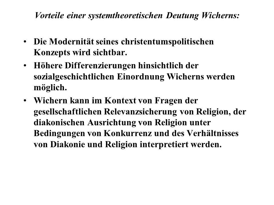 Vorteile einer systemtheoretischen Deutung Wicherns: Die Modernität seines christentumspolitischen Konzepts wird sichtbar. Höhere Differenzierungen hi