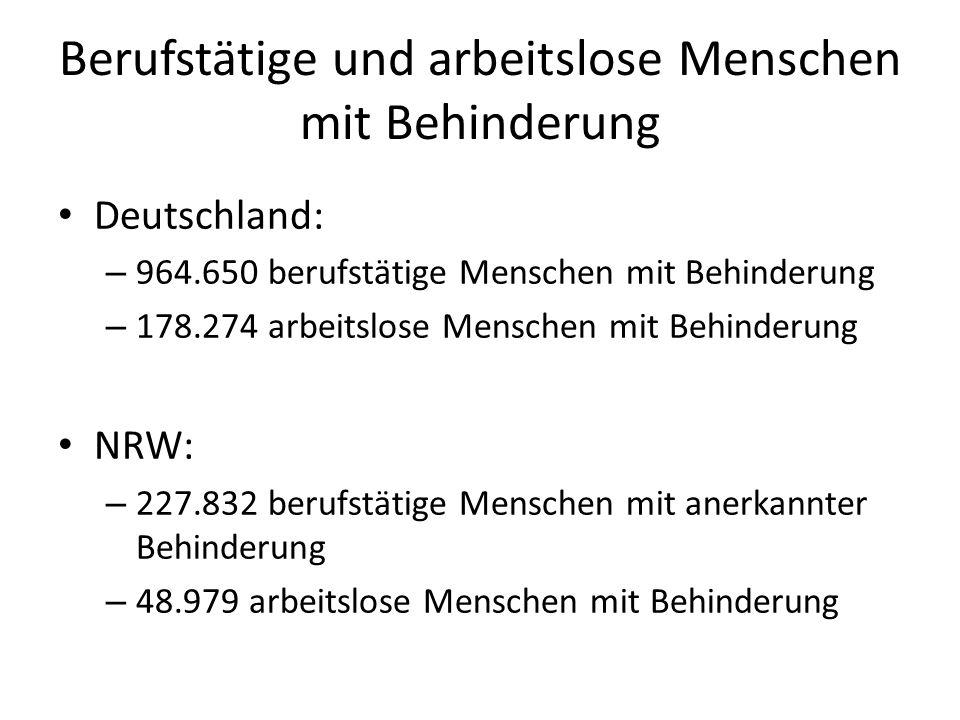 Berufstätige und arbeitslose Menschen mit Behinderung Deutschland: – 964.650 berufstätige Menschen mit Behinderung – 178.274 arbeitslose Menschen mit Behinderung NRW: – 227.832 berufstätige Menschen mit anerkannter Behinderung – 48.979 arbeitslose Menschen mit Behinderung
