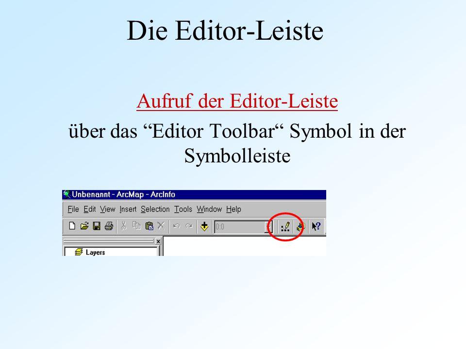 """Die Editor-Leiste Aufruf der Editor-Leiste über das """"Editor Toolbar"""" Symbol in der Symbolleiste"""
