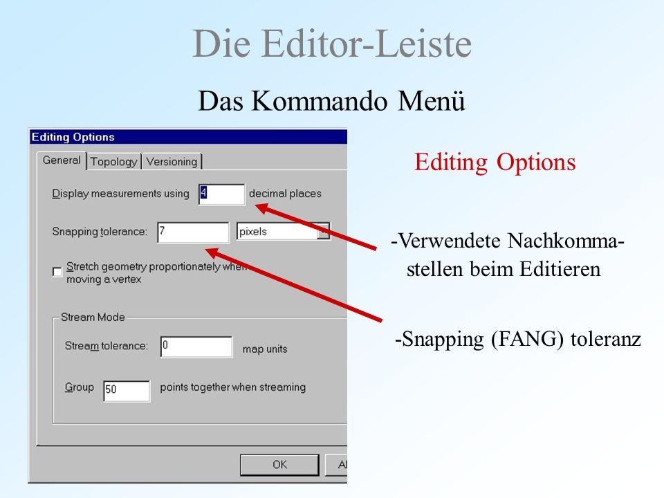Die Editor-Leiste Das Kommando Menü Editing Options -Verwendete Nachkomma- stellen beim Editieren -Snapping (FANG) toleranz