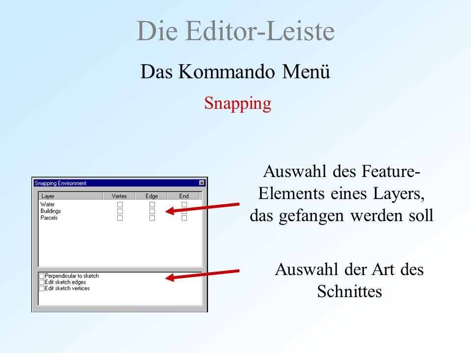 Auswahl des Feature- Elements eines Layers, das gefangen werden soll Die Editor-Leiste Das Kommando Menü Snapping Auswahl der Art des Schnittes