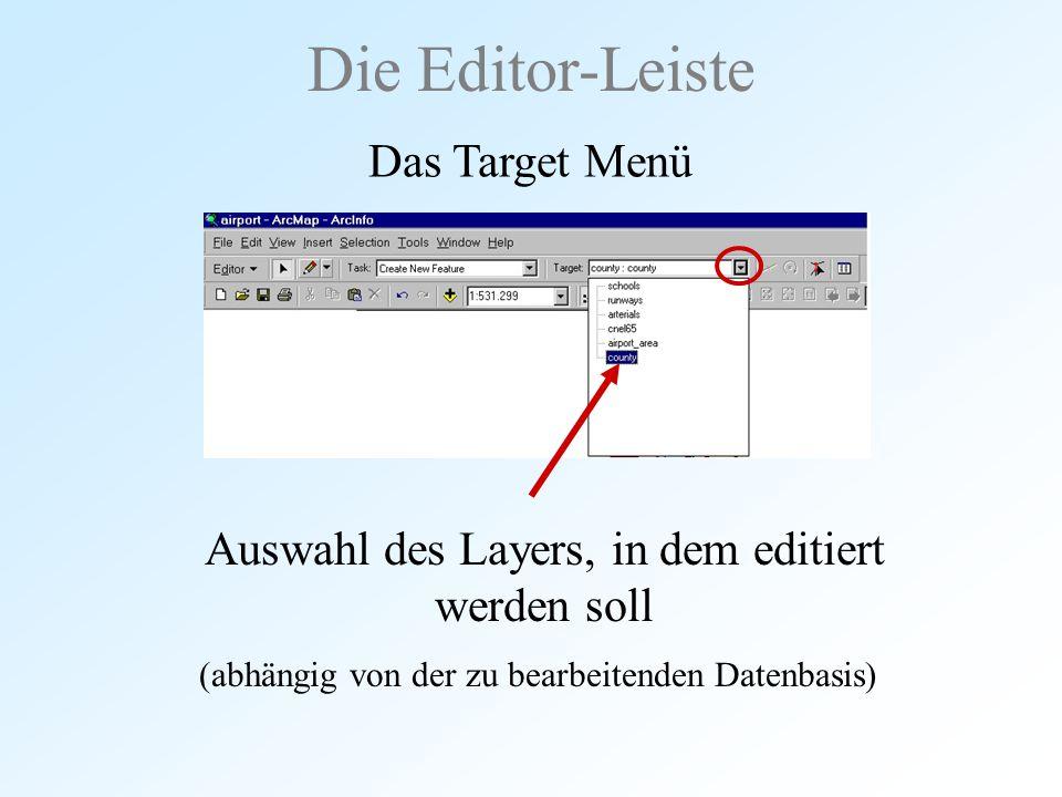 Auswahl des Layers, in dem editiert werden soll Die Editor-Leiste Das Target Menü (abhängig von der zu bearbeitenden Datenbasis)