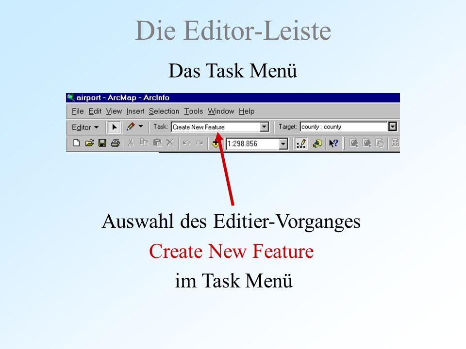 Die Editor-Leiste Das Task Menü Auswahl des Editier-Vorganges Create New Feature im Task Menü