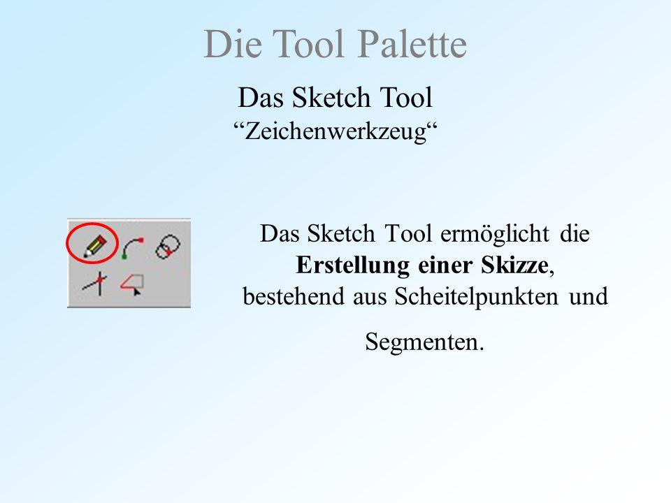 """Das Sketch Tool ermöglicht die Erstellung einer Skizze, bestehend aus Scheitelpunkten und Segmenten. Die Tool Palette Das Sketch Tool """"Zeichenwerkzeug"""