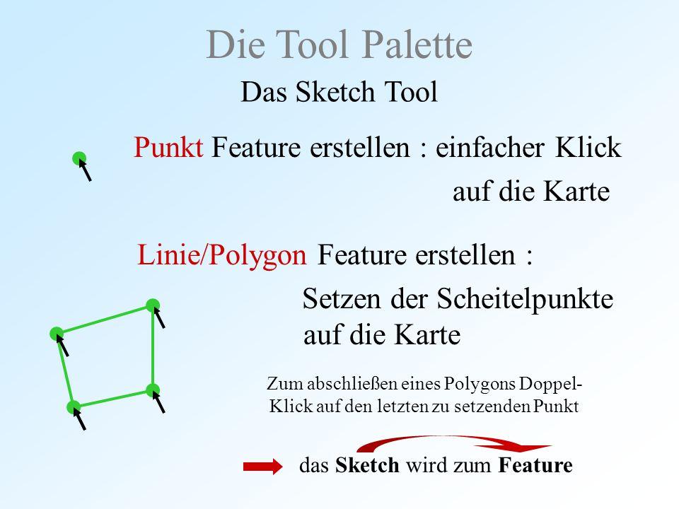 Punkt Feature erstellen : einfacher Klick auf die Karte Die Tool Palette Das Sketch Tool Linie/Polygon Feature erstellen : Setzen der Scheitelpunkte a