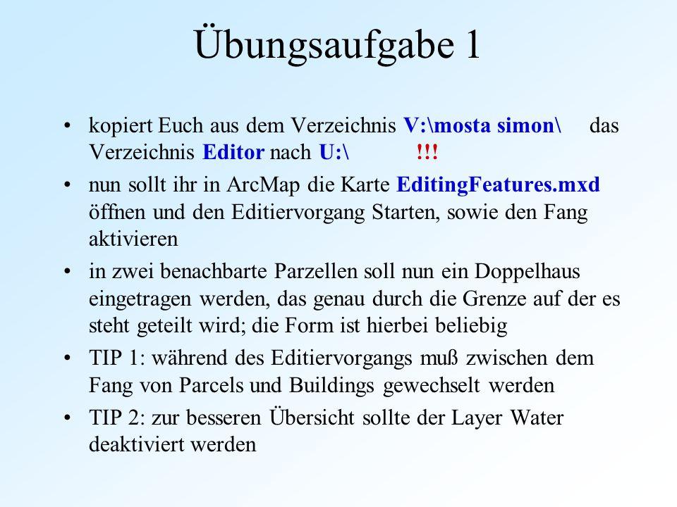 Übungsaufgabe 1 kopiert Euch aus dem Verzeichnis V:\mosta simon\ das Verzeichnis Editor nach U:\ !!! nun sollt ihr in ArcMap die Karte EditingFeatures