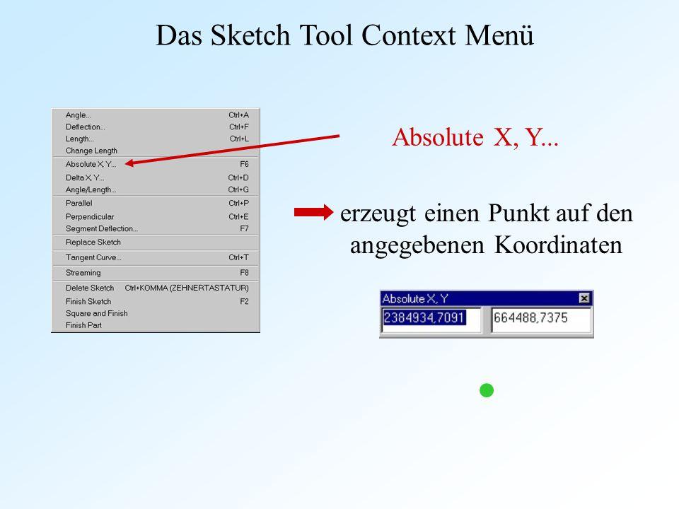 Absolute X, Y... erzeugt einen Punkt auf den angegebenen Koordinaten